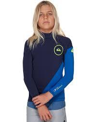 Quiksilver 1 0 Syncro S Boy Ls Wetsuit Jacket Nite Blue