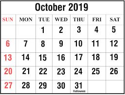 Free Editable October 2019 Printable Calendar Excel Pdf