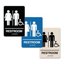 Handicap Accessible Unisex Bathroom Braille Sign SignitUp Impressive Unisex Bathroom