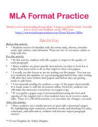 Mla Format Practice Activity By Kirsten Miller Tpt