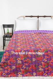 purple rose garden theme indian kantha quilted throw bedding