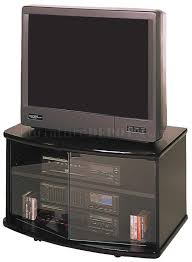 black finish modern tv stand w glass doors casters
