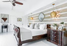trendy bedrooms with striped accent walls
