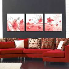 red wall hangings wall picture frames for living room flowers painting canvas wall art picture red