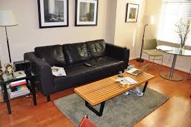 Modern Living Room With Brown Leather Sofa Living Room Rectangular Nice Square Mirror Nice Brown Leather
