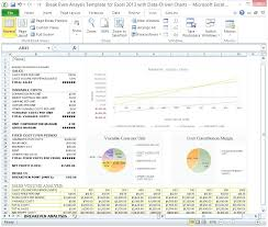 Break Even Graph Excel Break Even Point Graph Excel Show Analysis Template For With Data