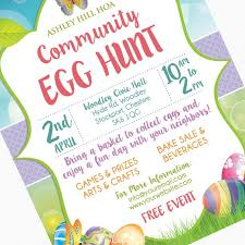 Easter Egg Hunt Flyer Invitation Poster Template Church Etsy