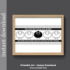 on black sheep wall art with funny friend gift black sheep printable wall art mothers