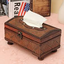 classic vintage wooden retro tissue paper box cover napkin holder case container craft home car rectangle