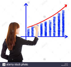 White Growth Chart Business Woman Draw A Marketing Growth Chart Over White