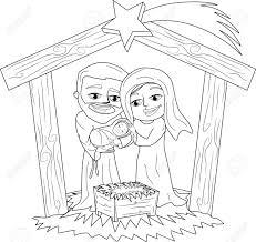Kerstmis Geboorte Scène Kleurplaat Royalty Vrije Cliparts Vectoren