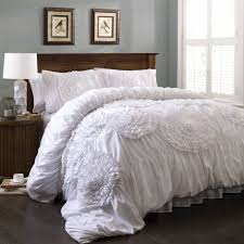 bedroom lush decor serena white ruffle bedding set with wooden bedside table white bedding