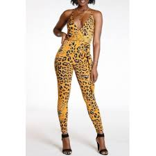Lovely <b>Sexy Leopard Printed</b> Yellow One-piece ...
