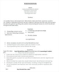 Cosmetology Student Resume Example Student Resumes Cosmetology