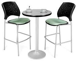 stylish indoor bistro table and 2 chairs 24 in round cafe table 2 padded seat chairs 3 pc set