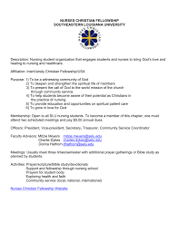 Nurses Christian Fellowship Southeastern Louisiana University
