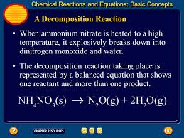 a decomposition reaction when ammonium nitrate is heated to a high temperature it explosively breaks