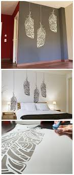 Feather stencil, ethnic decor element for wall, furniture or textile.  Painting ideas for