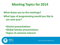 ppt meeting topics for 2014 what draws you to the meetings