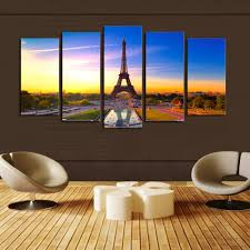 Painting Canvas For Living Room Aliexpresscom Buy 5 Panels Canvas Print Paris City View