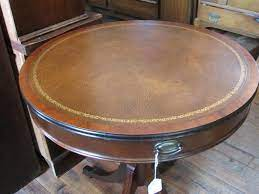 The top has leather inset around a glass insert. Leather Top Duncan Phyfe Table With 2 Drawers Yesterday S Treasures