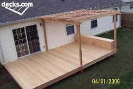 simple wood patio designs. Simple Simple Nice Simple Deck With Half Covered In Pergola Plus Box Seat Intended Simple Wood Patio Designs