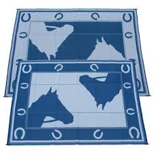 9x12 foot horseshoe indoor outdoor reversible rv mat from fireside patio mats blue