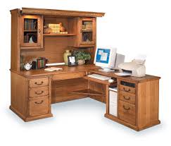 wood l shaped office desks with hutch