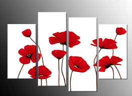 on poppy wall art uk with red poppies on white 4 panel canvas wall art picture 40 inch 101cm
