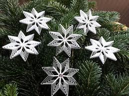 6 Kleine Sterne Weiß Mit Glitzersteinen Christbaumschmuck