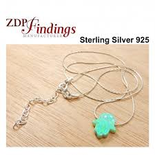 silver 925 or gold filled chain opal hamsa pendant necklace
