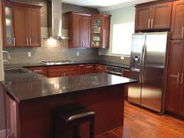 kitchen ideas cherry cabinets. Photo 2 Of 9 The Lovable Kitchen Ideas With Backsplash Cherry Cabinets Together Orange Wall And Ceiling Decoration