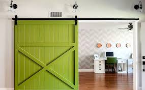 barn door office. Barn Door Decor Lime Green Paint Painter White Desk Office Decorations Statement Chair Pink And Gold
