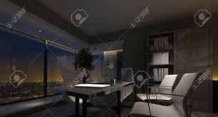 home office luxury home. Spacious Luxury Home Office Interior At Night With Dim Lighting Highlighting The Table And Chairs T