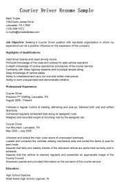 sample courier delivery driver resume sample and job title an image part of  format courier -