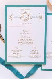 Wedding Program Scroll Jade Teal Turquoise Champagne Gold Scroll Formal