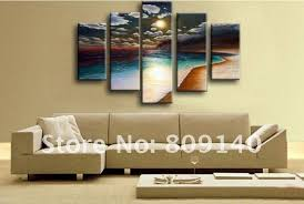 free shipping oil painting canvas beach sea scenery modern home office decoration wall art decor high quality handmade artwork artwork for office walls