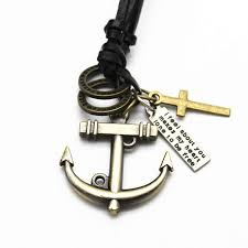 picture of jewellery extended necklaces anchor pendant leather based classic necklaces pendant for mens