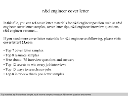 Example Of Cover Letter For Job Delectable Rd Engineer Cover Letter