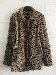miss selfridge vintage retro look leopard animal print faux fur coat 12