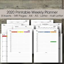 Hourly Planner 2020 2020 Hourly Weekly Planner Printable 2020 Rainbow Planner 2020 Printable Calendar Half Size Letter Size A5 Filofax Planner Inserts A4