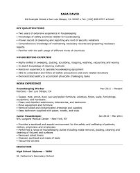 Cleaner Sample Resume Housekeeper Samples Free Within Examples Of