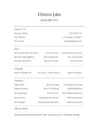 Musical Theatre Resume Acting Resume Examples For Beginners Beginner