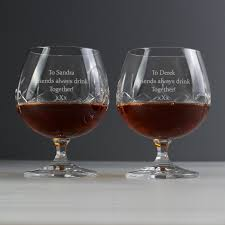 personalised pair of crystal brandy glasses despatched within 3 days