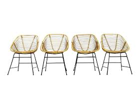 E Bamboo Wicker Chair Set Of Four Mid Century Modern Chairs  With Iron Base In