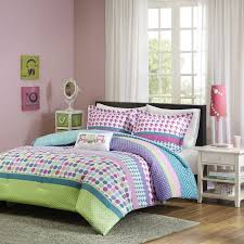 modern comforter bedding set purple and teal bedding girls pink purple aqua teal blue polka dots stripes geometric design with owl pillow in twin