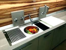 sink cutting board kitchen with sliding strainer
