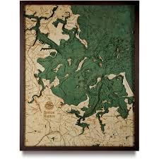 Nautical Wood Charts Boston Harbor