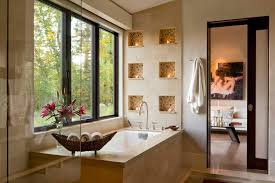 Decorative niche design bathroom contemporary with translucent glass door  pocket door frameless shower glass
