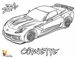 Red Blooded Car Coloring Pages Free Corvettes Cameros American